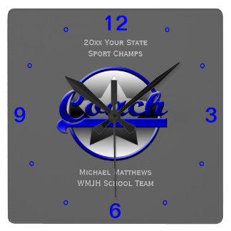 ブルースターのコーチの名前および学校の正方形の時計 スクエア壁時計