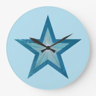 ブルースターの時計の円形の淡いブルー ラージ壁時計