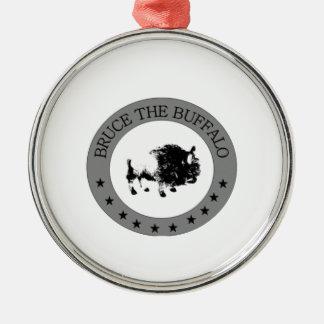 ブルース水牛の白黒ロゴ メタルオーナメント