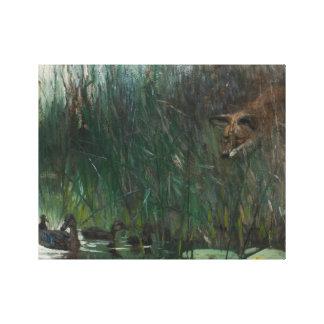 ブルーノLiljefors -アヒルおよび卑劣なキツネの群 キャンバスプリント