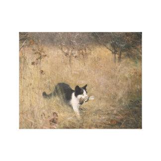 ブルーノLiljefors -猫の鳥の狩り キャンバスプリント