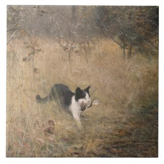 ブルーノLiljefors -猫の鳥の狩り タイル