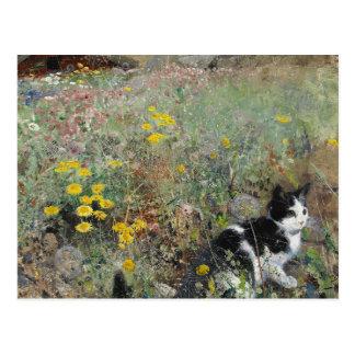 ブルーノLiljefors -花壇の猫 ポストカード
