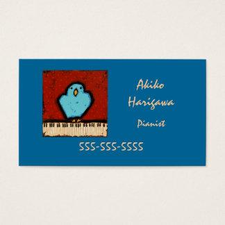 ブルーバードおよびキーボードのピアニストの名刺 名刺