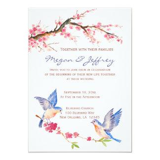 ブルーバードが付いている水彩画の桜 カード