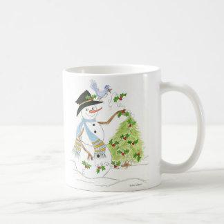 ブルーバードが付いている独身のな雪だるま コーヒーマグカップ