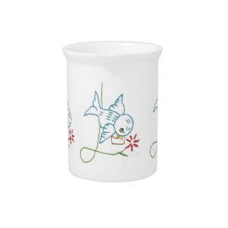 ブルーバードによって刺繍される芸術の飲料の水差し ピッチャー