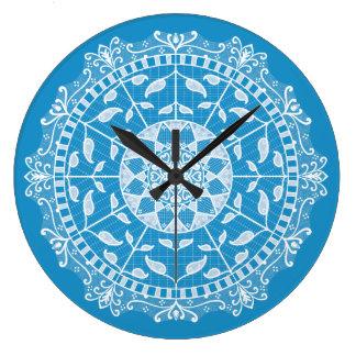 ブルーバードの曼荼羅 ラージ壁時計