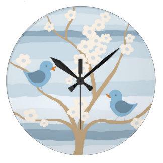 ブルーバードの木の時計 ラージ壁時計