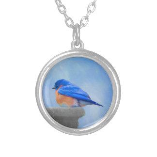 ブルーバードの絵画-元の鳥の芸術 シルバープレートネックレス