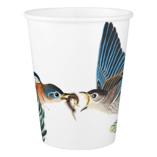 ブルーバードの鳥の野性生物の花の動物の紙コップ 紙コップ