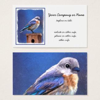 ブルーバードの(女性の)絵画-元の鳥の芸術 名刺