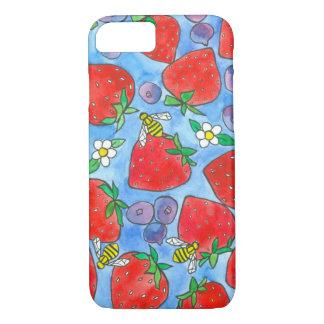 ブルーベリーのいちごの蜂蜜の蜂の水彩画 iPhone 8/7ケース