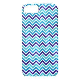 ブルーベリーのシェブロンパターンジグザグ形の青いiphoneの箱 iPhone 7ケース