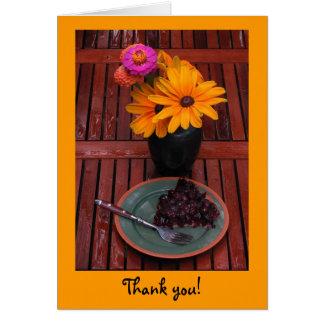 ブルーベリーのタルト及び花は感謝していしています カード