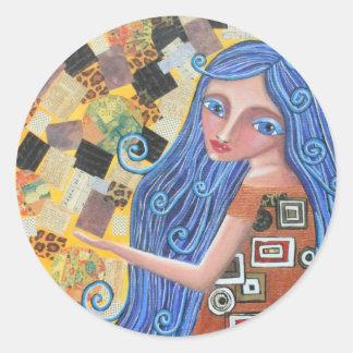 ブルーベリーのブロンドの女神、円形のステッカー ラウンドシール