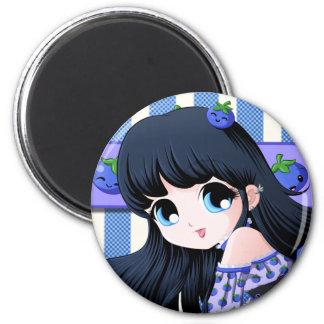 ブルーベリーの日本製アニメボタン マグネット