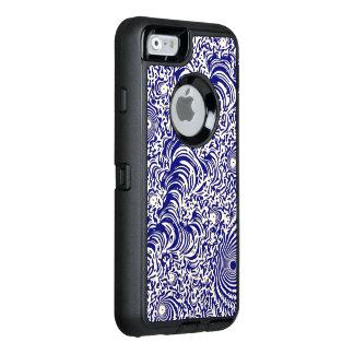 ブルーベリーの白いフラクタルの抽象芸術 オッターボックスディフェンダーiPhoneケース
