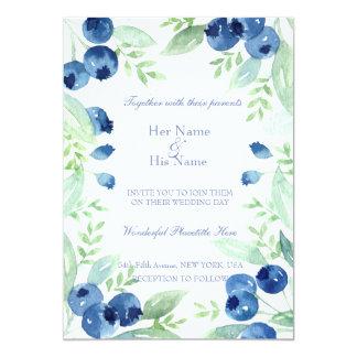 ブルーベリーの真夏の素朴な果実の結婚式 カード