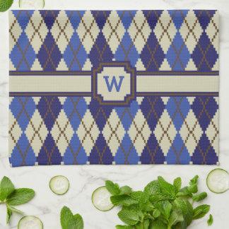 ブルーベリーのSconeのアーガイル柄のな台所タオル キッチンタオル