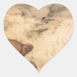 ブルーベリー薮で眠ったクマ ハートシール
