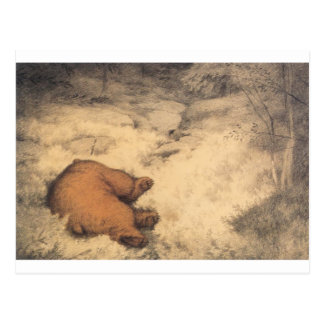 ブルーベリー薮で眠ったクマ ポストカード