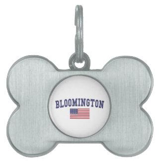 ブルーミントンMN米国の旗 ペットネームタグ