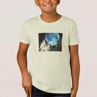 ブルームーンのオオカミのオーガニックなTシャツ Tシャツ