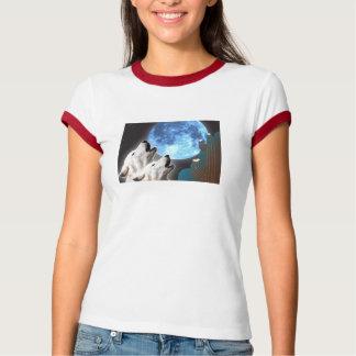 ブルームーンのオオカミの女性信号器のTシャツ Tシャツ