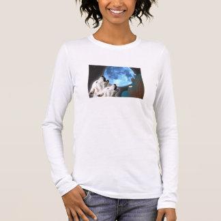 ブルームーンのオオカミの女性長袖(合う) Tシャツ