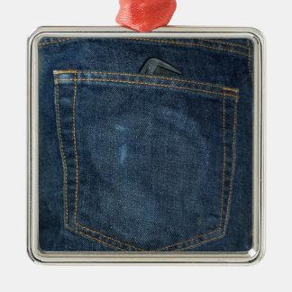 ブルー・ジーンズのデニムのポケット メタルオーナメント