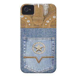 """""""ブルー・ジーンズ及び革""""西部ブラックベリーの箱 Case-Mate iPhone 4 ケース"""