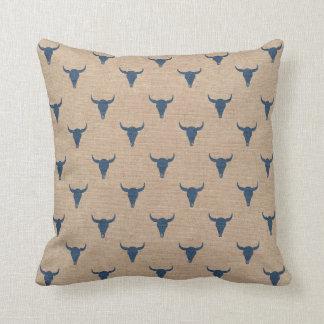 ブル・ホーンパターン枕デニムの青 クッション