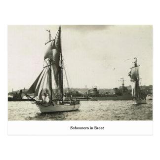 ブレストのスクーナー船 ポストカード