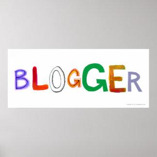 ブロガーのおもしろいの多彩な芸術はbloggingブログを言い表わします ポスター