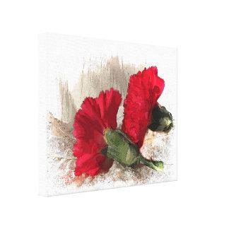 ブロケードの赤いカーネーション キャンバスプリント