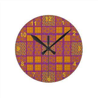 ブロックのキルトパターン2 ラウンド壁時計