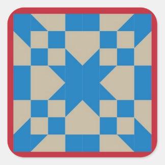 ブロックのステッカー-オクラホマへの道--をキルトにして下さい(赤くか青) スクエアシール