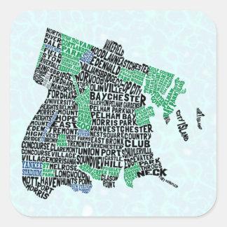 ブロンクスニューヨークシティのタイポグラフィの地図 スクエアシール