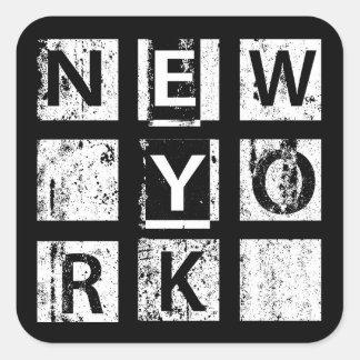 ブロンクスニューヨーク|のグランジなタイポグラフィ スクエアシール