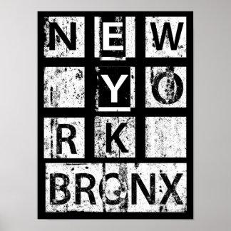 ブロンクスニューヨーク のグランジなタイポグラフィ ポスター