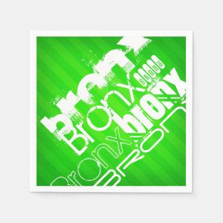 ブロンクス; ネオン緑のストライプ スタンダードカクテルナプキン
