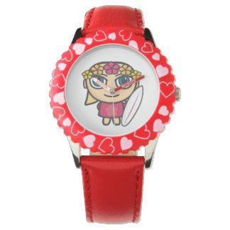 ブロンドのサーファーの女の子の子供の腕時計 腕時計