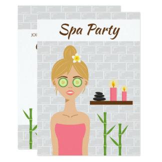 ブロンドのスパの女の子のイラストレーションのスパ日のブライダルシャワー カード