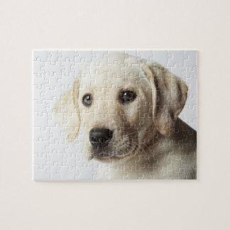 ブロンドのラブラドル・レトリーバー犬の子犬のポートレート ジグソーパズル