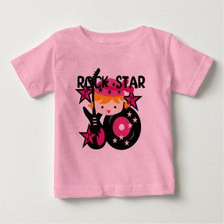 ブロンドのロックスターの女の子 ベビーTシャツ
