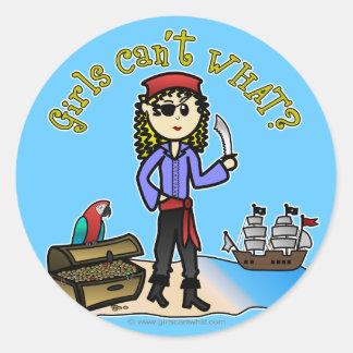 ブロンドの女の子の海賊 ラウンドシール