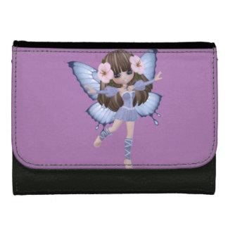 ブロンドの女の子、妖精、蝶、中型の財布 ウォレット