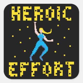 ブロンドの女性のスーパーヒーローのステッカー スクエアシール