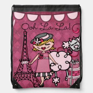 ブロンドのOohのLaのLaの花型女性歌手のドローストリングのバックパックのバッグ ナップサック